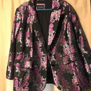 Eloquii shimmery floral blazer 26W